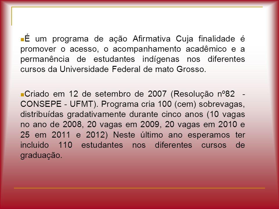 É um programa de ação Afirmativa Cuja finalidade é promover o acesso, o acompanhamento acadêmico e a permanência de estudantes indígenas nos diferentes cursos da Universidade Federal de mato Grosso.