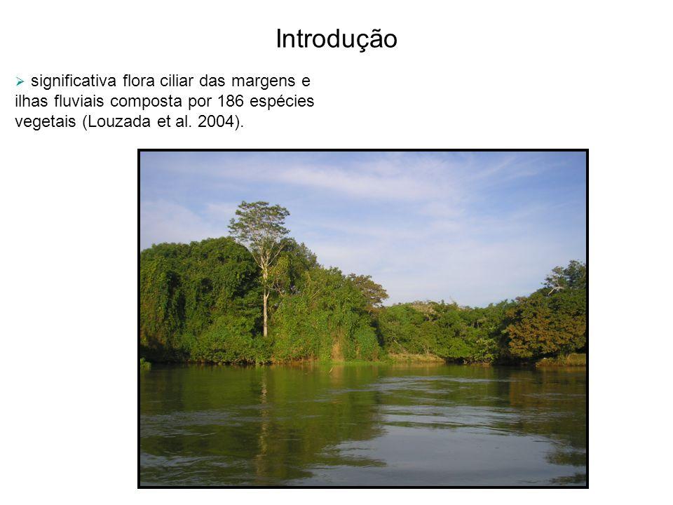 Introdução significativa flora ciliar das margens e ilhas fluviais composta por 186 espécies vegetais (Louzada et al.