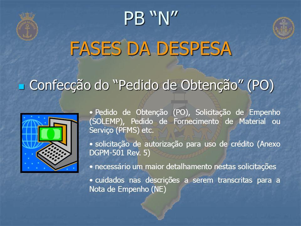 PB N FASES DA DESPESA Confecção do Pedido de Obtenção (PO)