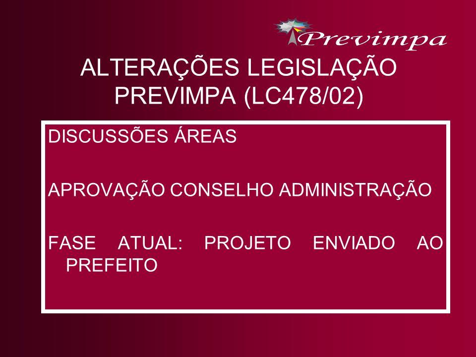 ALTERAÇÕES LEGISLAÇÃO PREVIMPA (LC478/02)