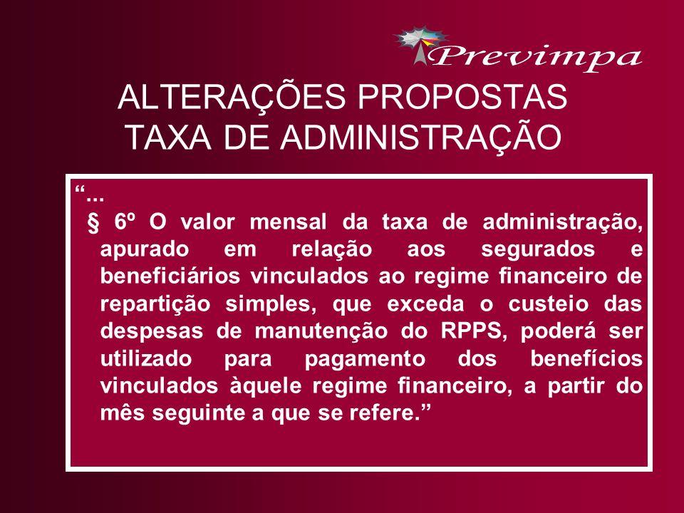 ALTERAÇÕES PROPOSTAS TAXA DE ADMINISTRAÇÃO