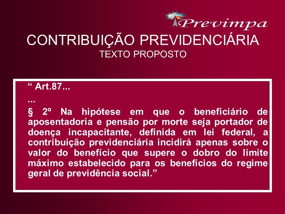CONTRIBUIÇÃO PREVIDENCIÁRIA TEXTO PROPOSTO