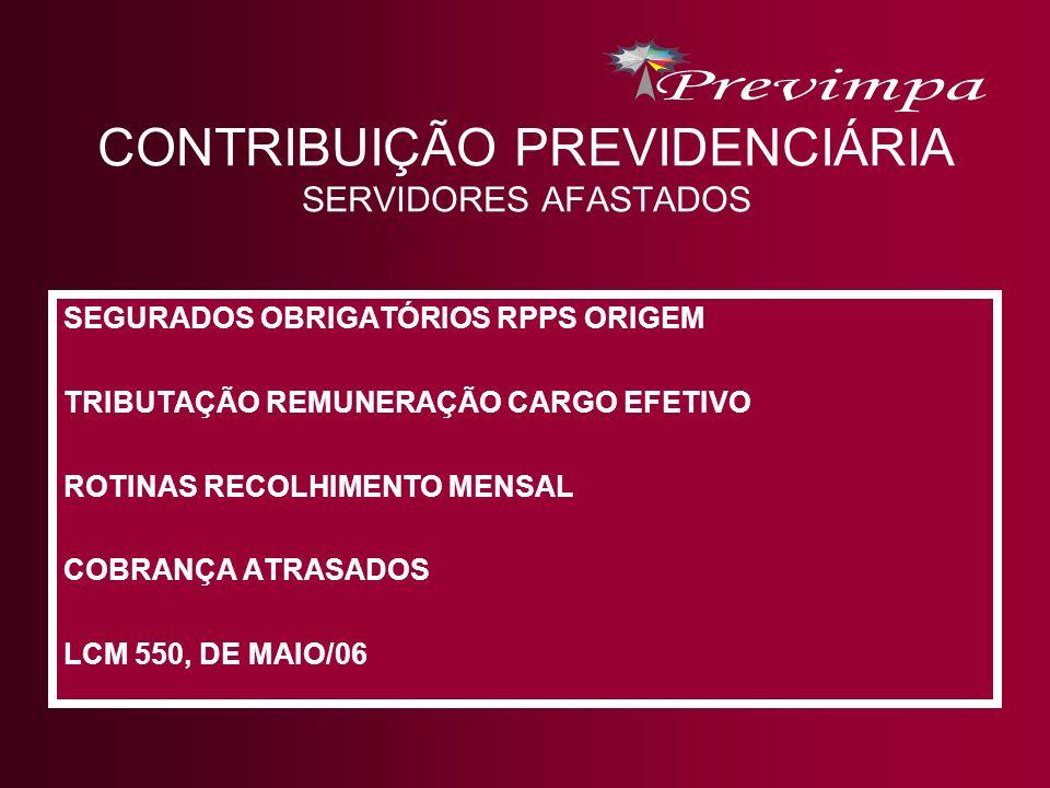 CONTRIBUIÇÃO PREVIDENCIÁRIA SERVIDORES AFASTADOS