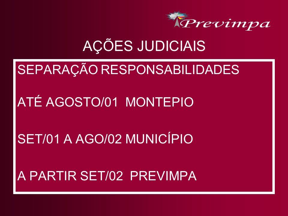 AÇÕES JUDICIAIS SEPARAÇÃO RESPONSABILIDADES ATÉ AGOSTO/01 MONTEPIO