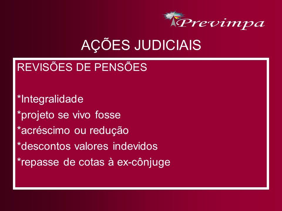 AÇÕES JUDICIAIS REVISÕES DE PENSÕES *Integralidade