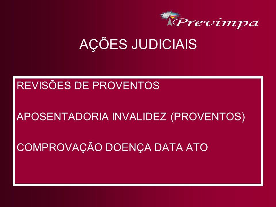 AÇÕES JUDICIAIS REVISÕES DE PROVENTOS