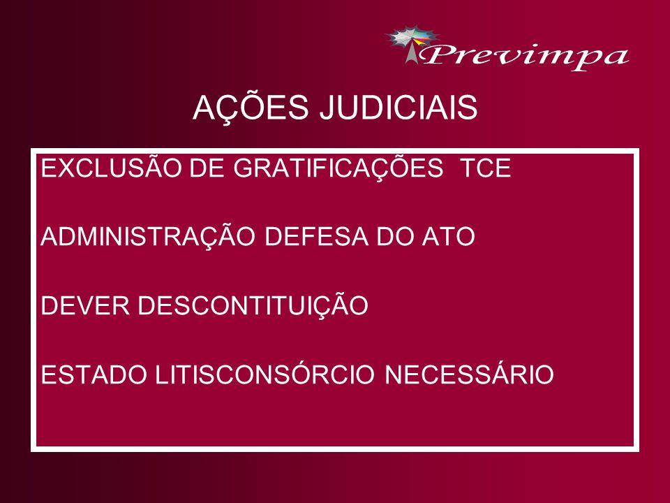 AÇÕES JUDICIAIS EXCLUSÃO DE GRATIFICAÇÕES TCE