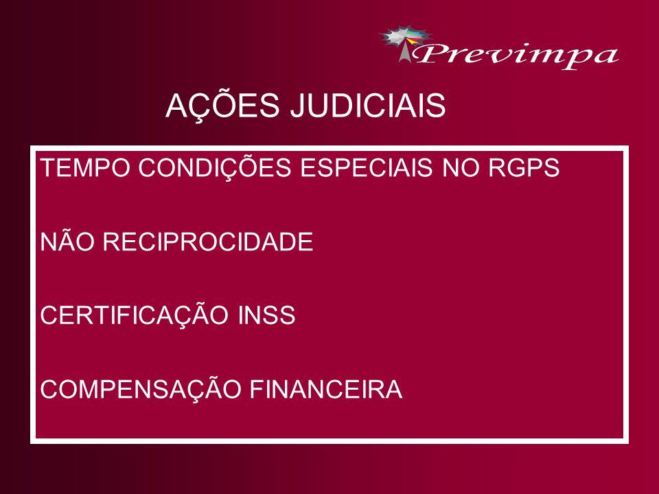 AÇÕES JUDICIAIS TEMPO CONDIÇÕES ESPECIAIS NO RGPS NÃO RECIPROCIDADE
