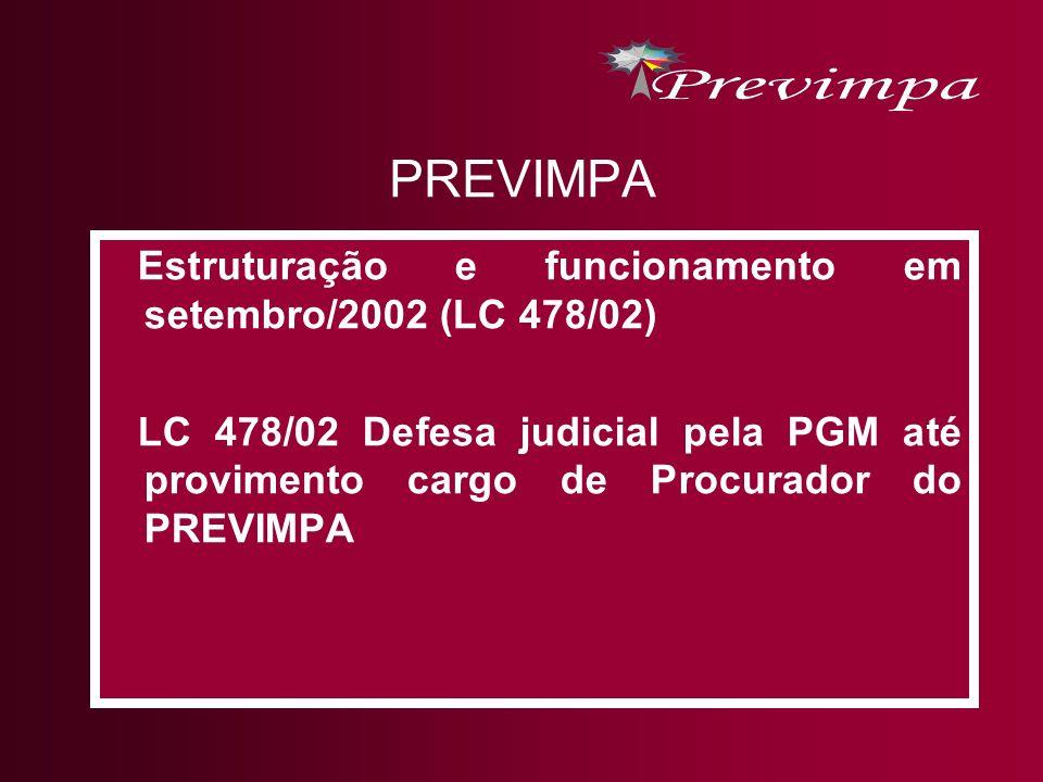 PREVIMPA Estruturação e funcionamento em setembro/2002 (LC 478/02)