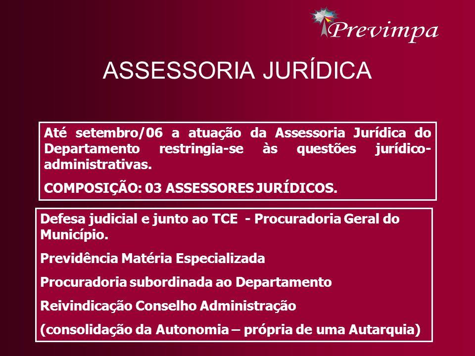 ASSESSORIA JURÍDICA Até setembro/06 a atuação da Assessoria Jurídica do Departamento restringia-se às questões jurídico- administrativas.