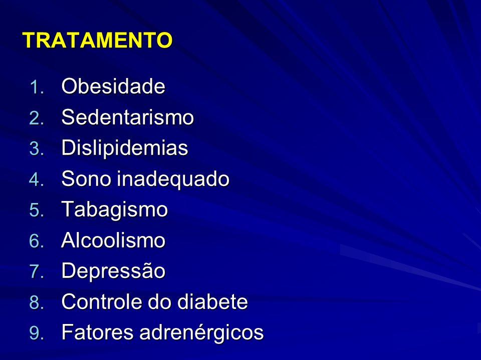 TRATAMENTO Obesidade. Sedentarismo. Dislipidemias. Sono inadequado. Tabagismo. Alcoolismo. Depressão.