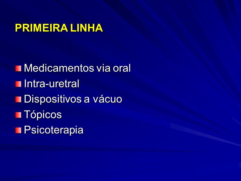 PRIMEIRA LINHA Medicamentos via oral Intra-uretral Dispositivos a vácuo Tópicos Psicoterapia