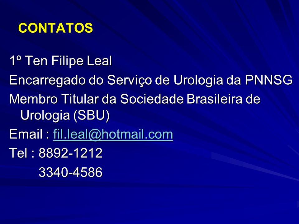 CONTATOS 1º Ten Filipe Leal. Encarregado do Serviço de Urologia da PNNSG. Membro Titular da Sociedade Brasileira de Urologia (SBU)