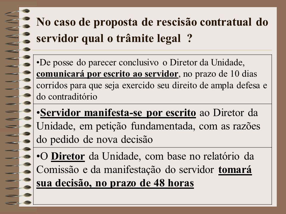 No caso de proposta de rescisão contratual do servidor qual o trâmite legal