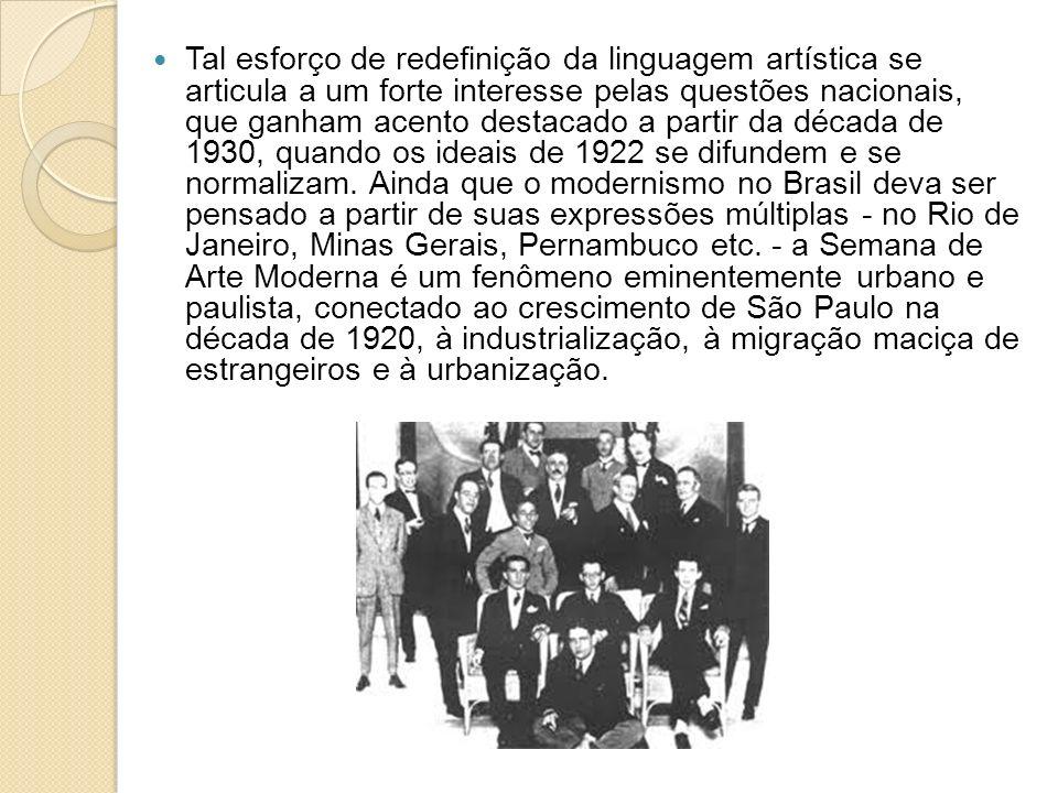 Tal esforço de redefinição da linguagem artística se articula a um forte interesse pelas questões nacionais, que ganham acento destacado a partir da década de 1930, quando os ideais de 1922 se difundem e se normalizam.
