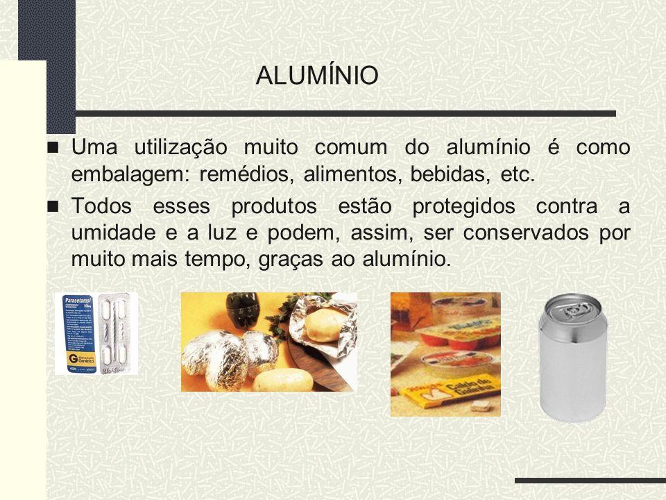 ALUMÍNIO Uma utilização muito comum do alumínio é como embalagem: remédios, alimentos, bebidas, etc.