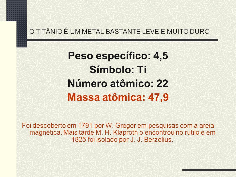 O TITÂNIO É UM METAL BASTANTE LEVE E MUITO DURO