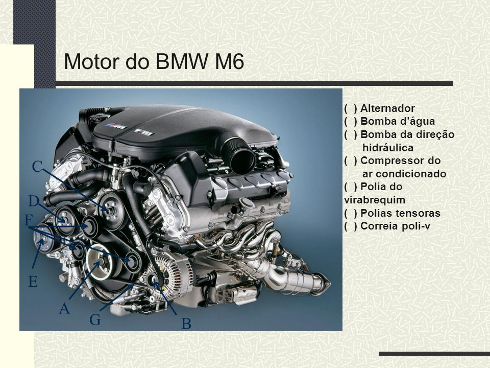 Motor do BMW M6 C D F E A G B ( ) Alternador ( ) Bomba d'água