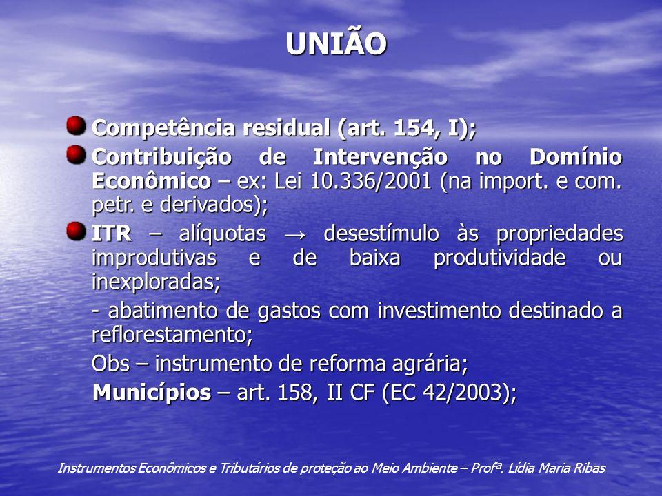 UNIÃO Competência residual (art. 154, I);