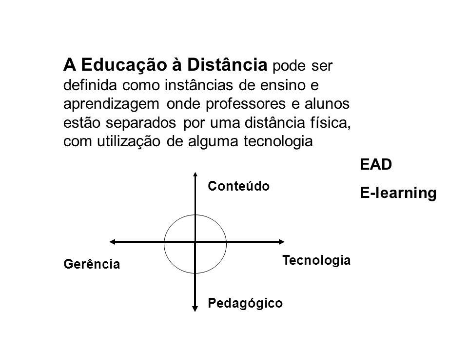 A Educação à Distância pode ser definida como instâncias de ensino e aprendizagem onde professores e alunos estão separados por uma distância física, com utilização de alguma tecnologia