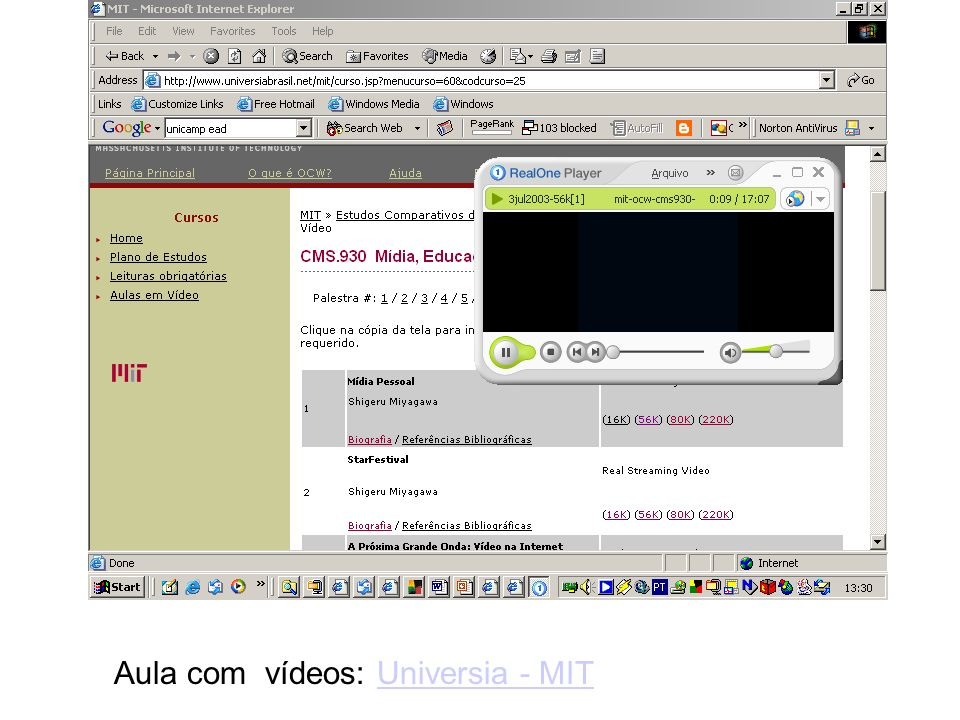 Aula com vídeos: Universia - MIT