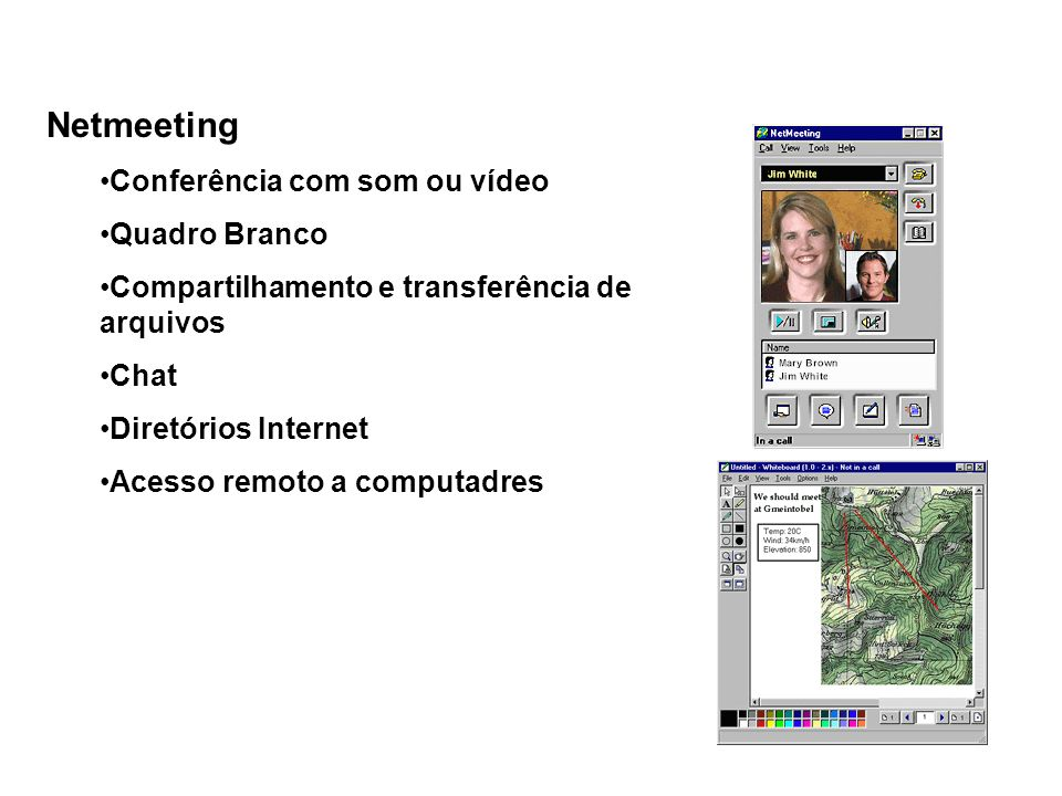 Netmeeting Conferência com som ou vídeo Quadro Branco