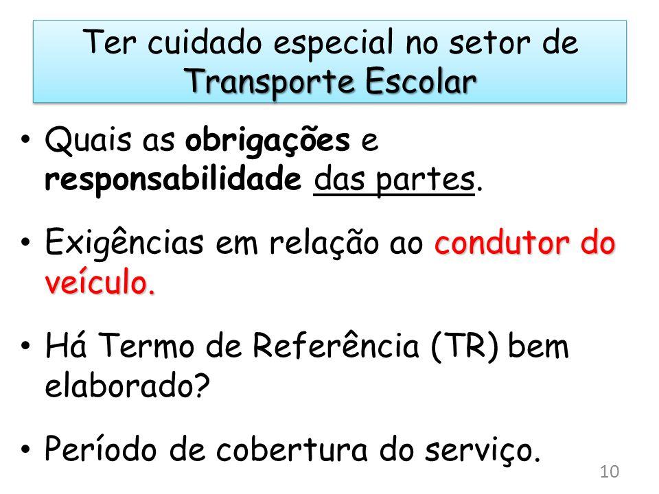 Ter cuidado especial no setor de Transporte Escolar