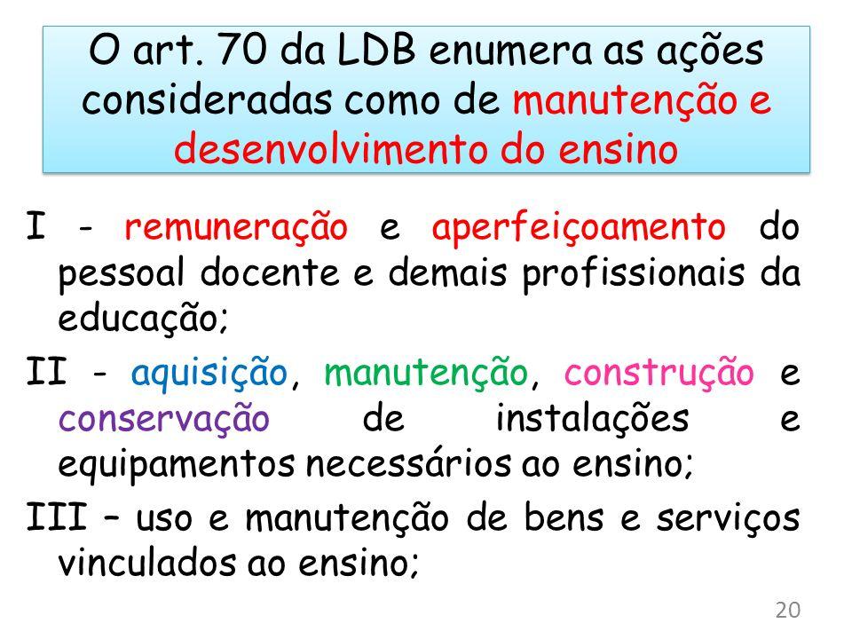 O art. 70 da LDB enumera as ações consideradas como de manutenção e desenvolvimento do ensino
