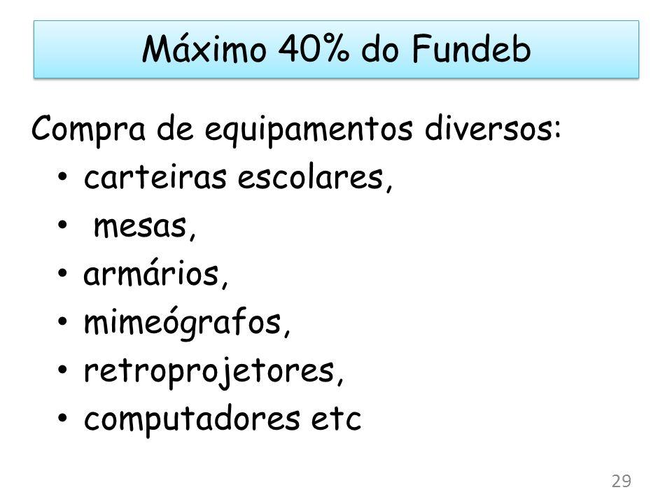 Máximo 40% do Fundeb Compra de equipamentos diversos: