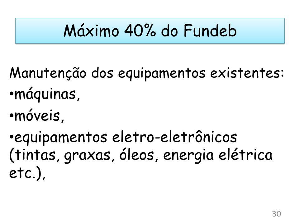 Máximo 40% do Fundeb máquinas, móveis,