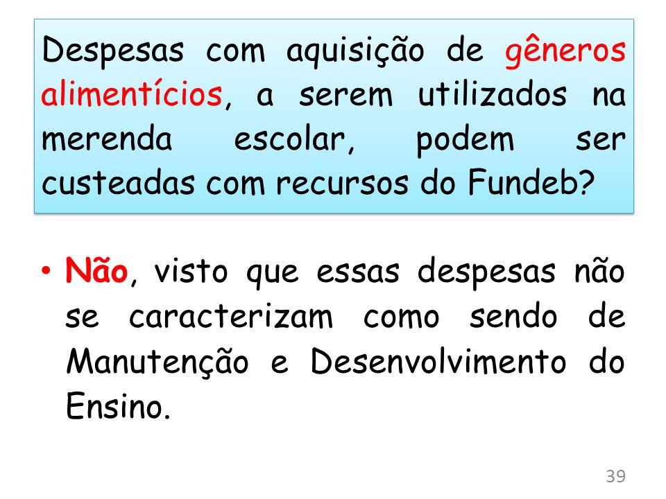 Despesas com aquisição de gêneros alimentícios, a serem utilizados na merenda escolar, podem ser custeadas com recursos do Fundeb