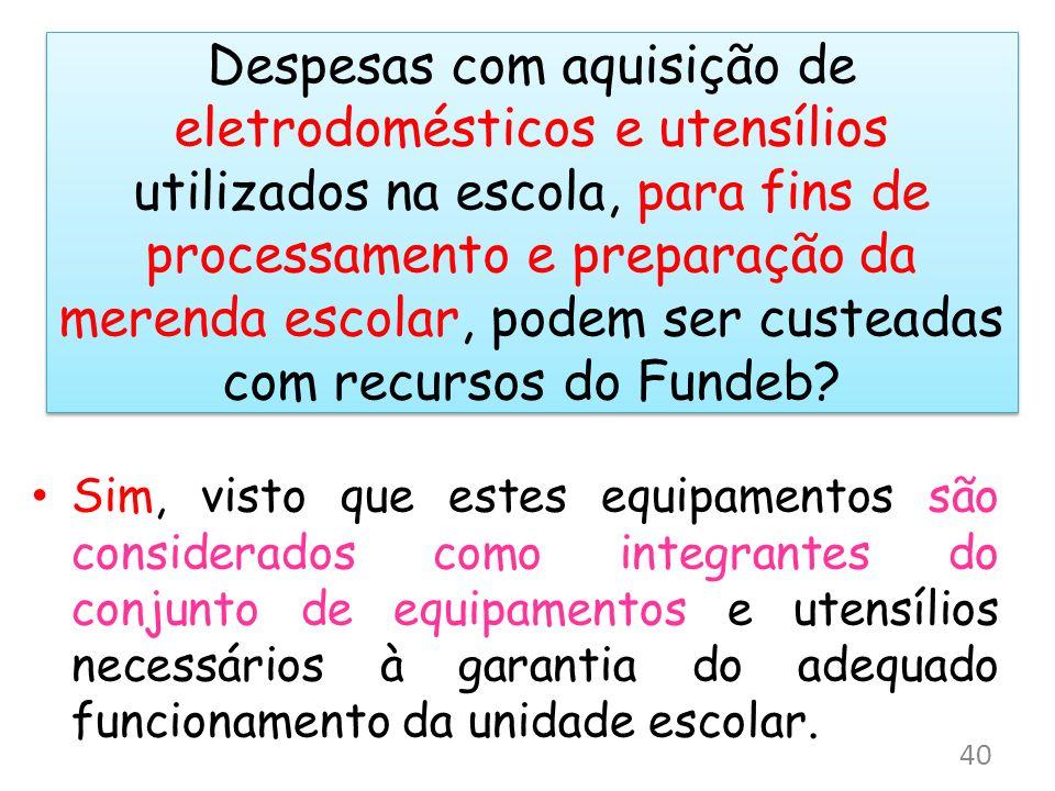 Despesas com aquisição de eletrodomésticos e utensílios utilizados na escola, para fins de processamento e preparação da merenda escolar, podem ser custeadas com recursos do Fundeb