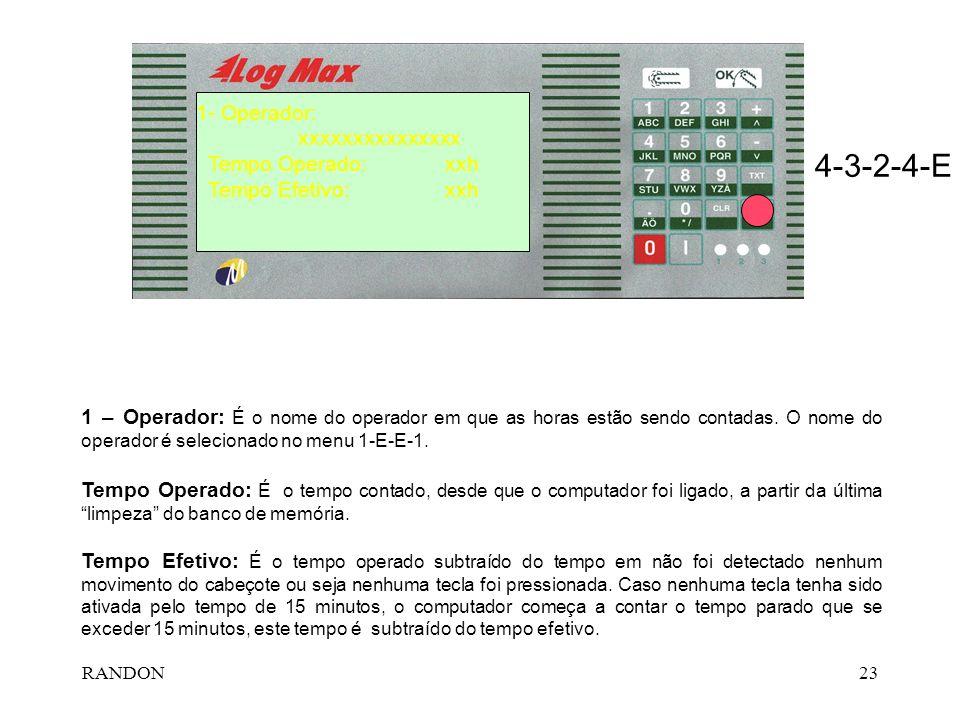 4-3-2-4-E 1- Operador: xxxxxxxxxxxxxxx Tempo Operado: xxh