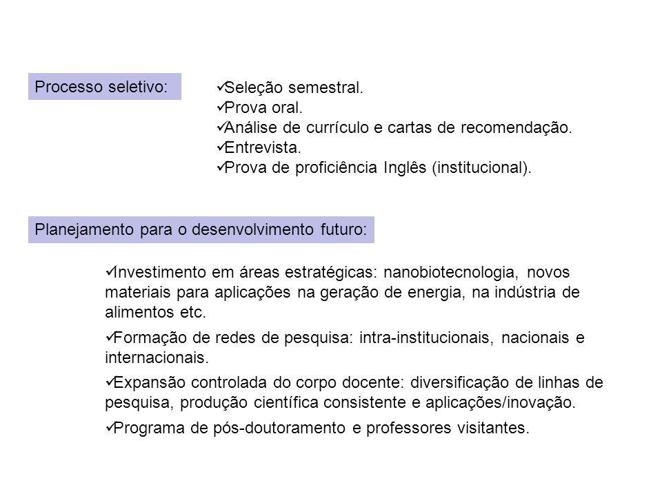 Processo seletivo: Seleção semestral. Prova oral. Análise de currículo e cartas de recomendação. Entrevista.