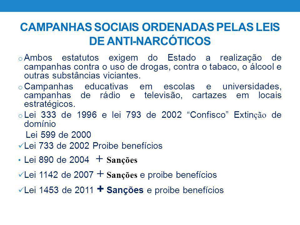 CAMPANHAS SOCIAIS ORDENADAS PELAS LEIS DE ANTI-NARCÓTICOS
