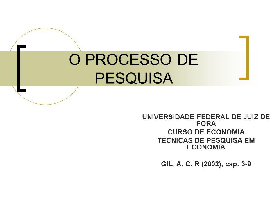 UNIVERSIDADE FEDERAL DE JUIZ DE FORA TÉCNICAS DE PESQUISA EM ECONOMIA