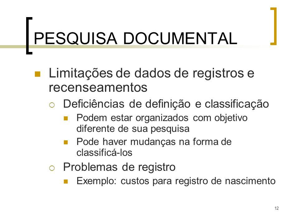 PESQUISA DOCUMENTAL Limitações de dados de registros e recenseamentos