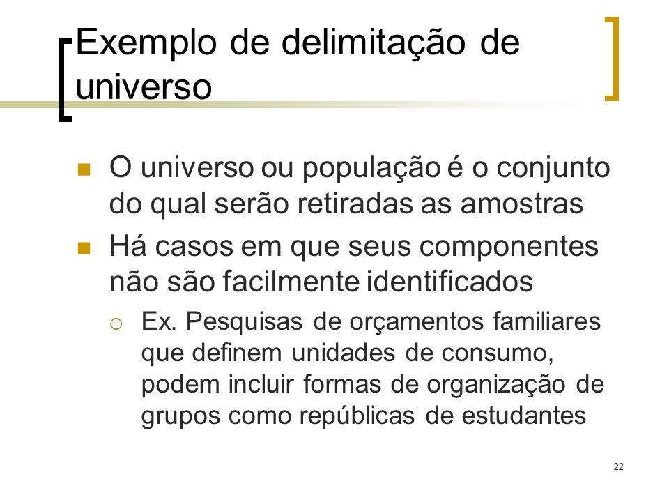 Exemplo de delimitação de universo