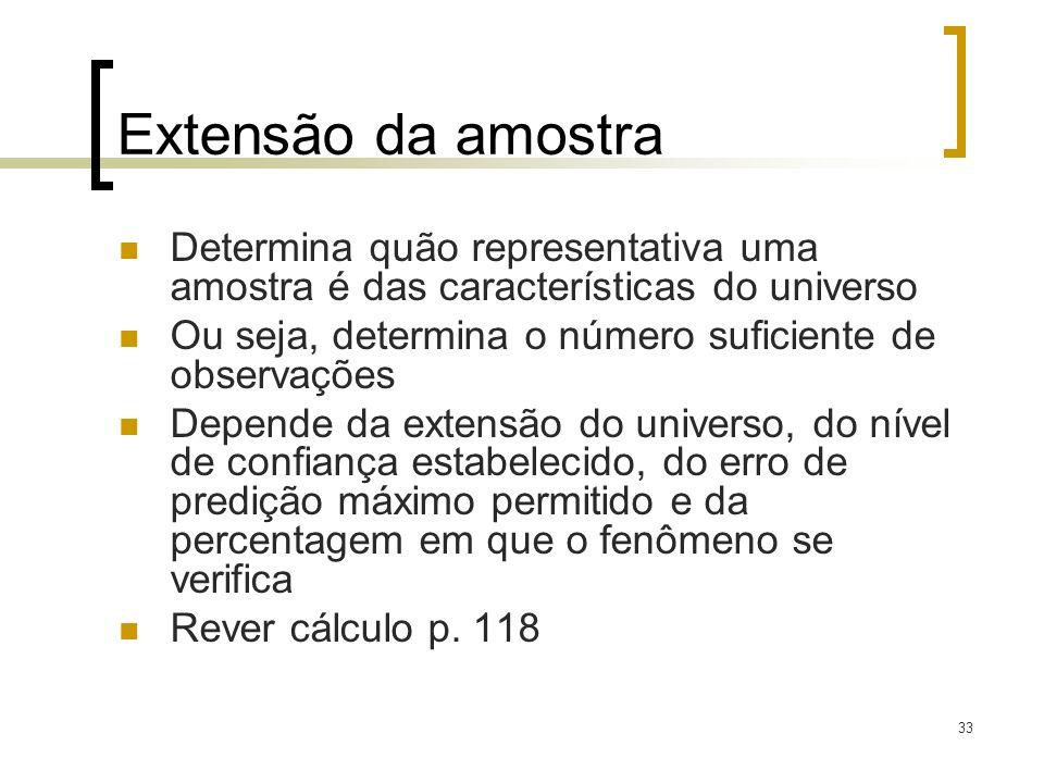 Extensão da amostra Determina quão representativa uma amostra é das características do universo.