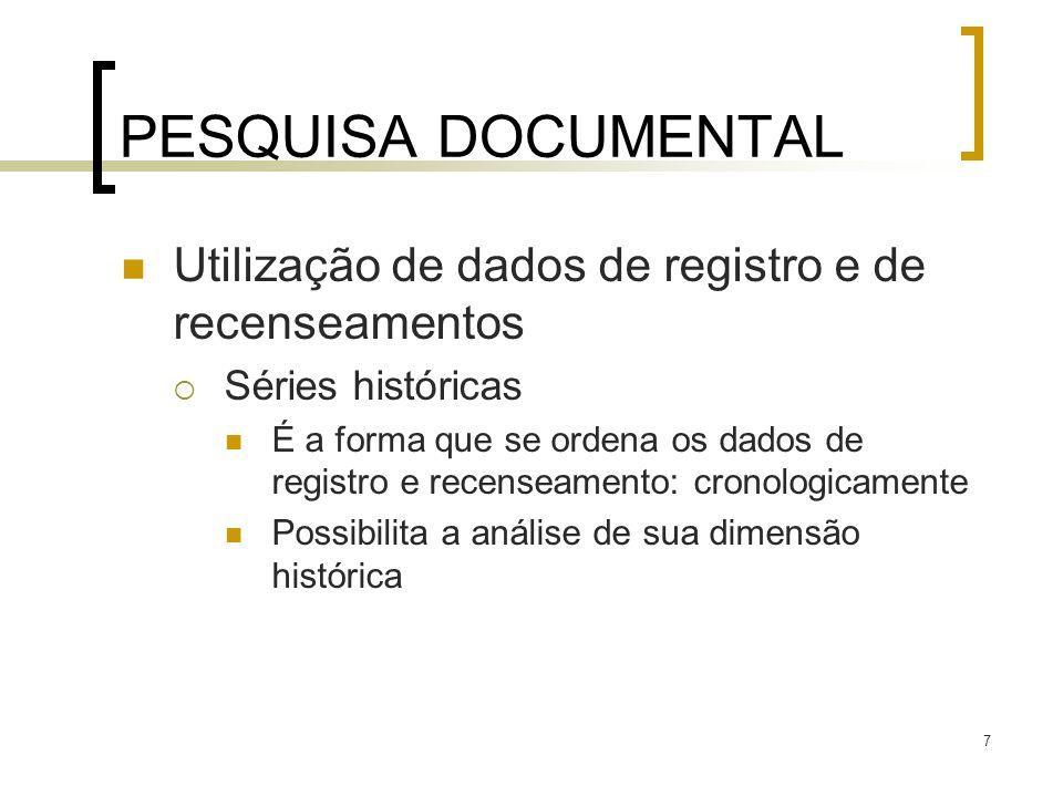 PESQUISA DOCUMENTAL Utilização de dados de registro e de recenseamentos. Séries históricas.
