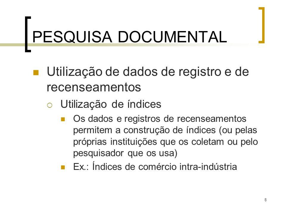 PESQUISA DOCUMENTAL Utilização de dados de registro e de recenseamentos. Utilização de índices.