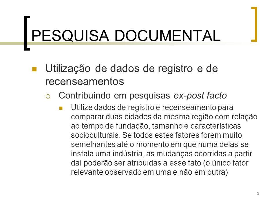 PESQUISA DOCUMENTAL Utilização de dados de registro e de recenseamentos. Contribuindo em pesquisas ex-post facto.