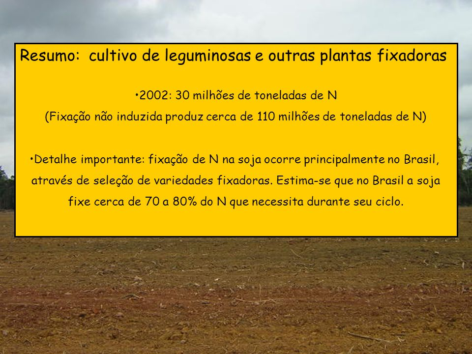 Resumo: cultivo de leguminosas e outras plantas fixadoras