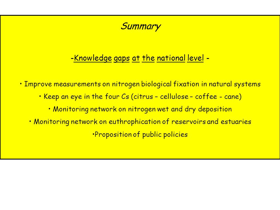 Summary Knowledge gaps at the national level -