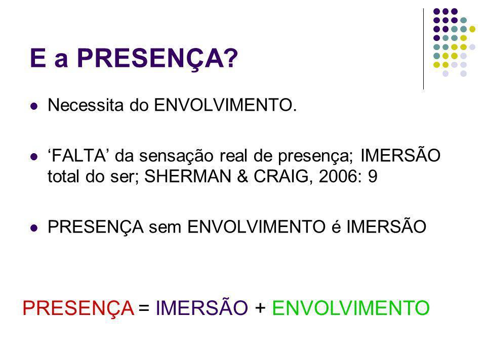 E a PRESENÇA PRESENÇA = IMERSÃO + ENVOLVIMENTO
