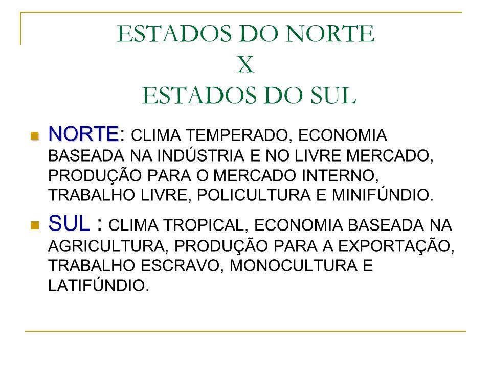 ESTADOS DO NORTE X ESTADOS DO SUL