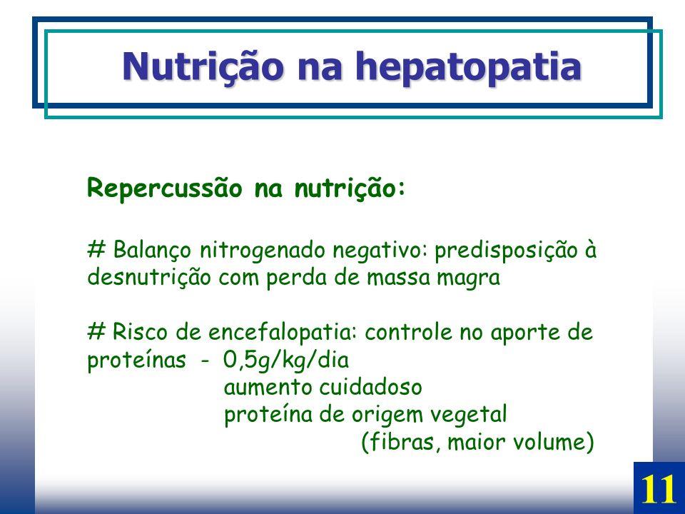 11 Nutrição na hepatopatia Repercussão na nutrição:
