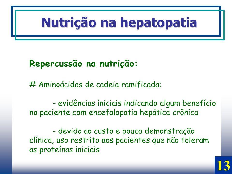 13 Nutrição na hepatopatia Repercussão na nutrição: