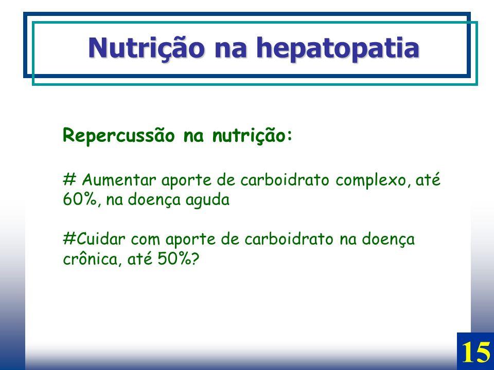 15 Nutrição na hepatopatia Repercussão na nutrição: