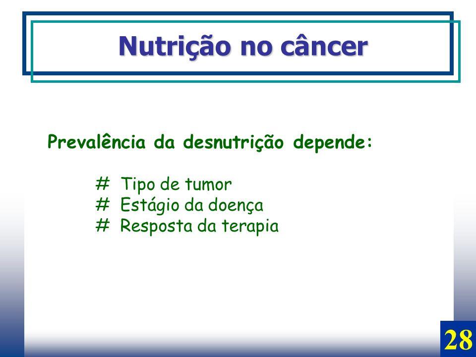 28 Nutrição no câncer Prevalência da desnutrição depende:
